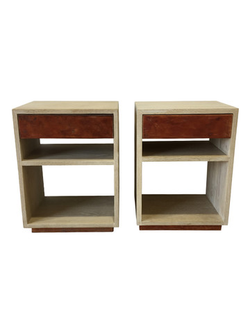Pair of Limited Edition Oak and Vintage Leather Drawer Night Stands 36883