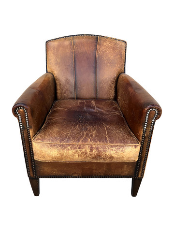 Single French 1940's Leather Chair 35121