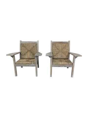 Pair of oak and Palm Woven Chairs 37245