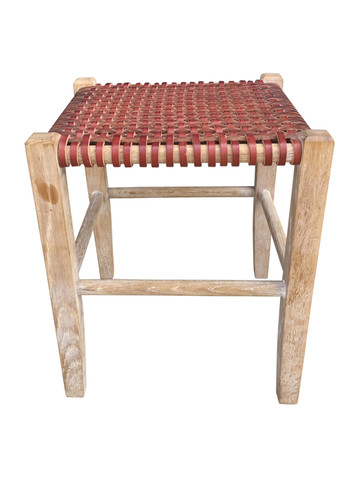 Limited Edition Woven Leather Stool 37256