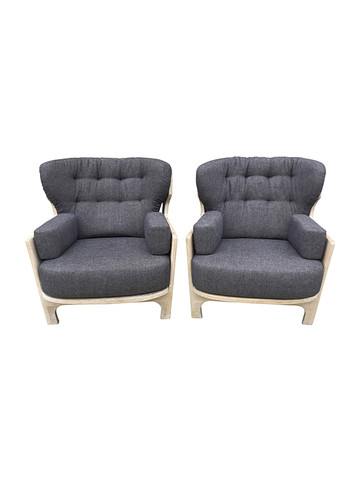 Pair of Guillerme & Chambron Oak Armchairs 31692