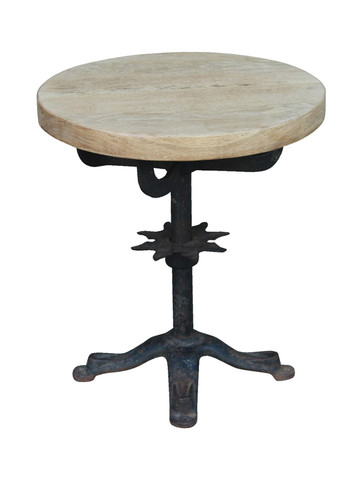 Belgian Industrial Iron and Oak Side Table 33591