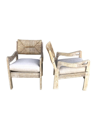 Pair of Limited Edition Woven Oak Arm Chairs 35276