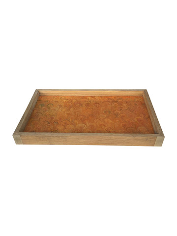 Limited Edition Oak Tray With Vintage Marbleized Paper 34156