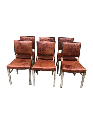 Set of (6) Danish Leather Dining Chairs 35034