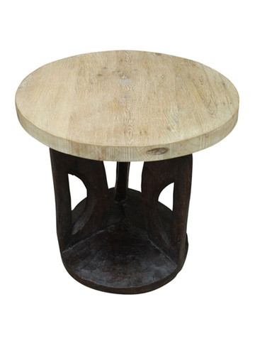 Limited Edition Antique African Base Side Table 26694