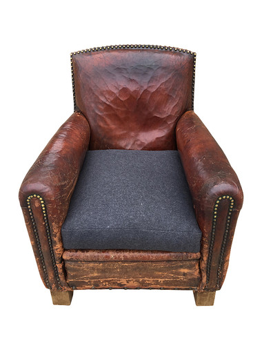 Single French Mid Century Leather Club Chair 31595