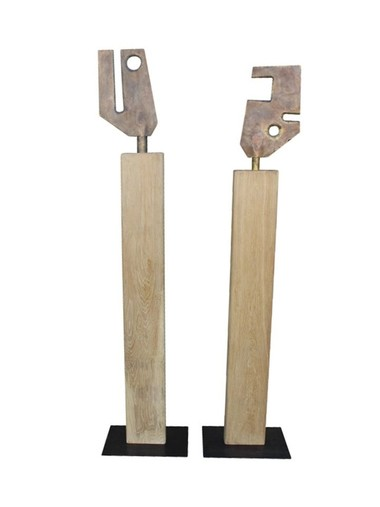Pair of Stephen Keeney Modernist Sculptures 35606
