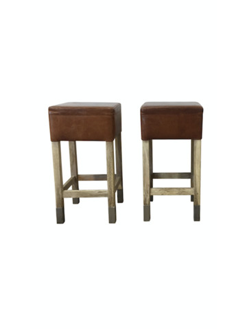 Pair Belgian Leather and Oak Stools 38422
