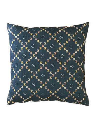 Antique Moroccan Indigo and Embroidery Textile Pillow 34818