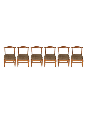 Set of (6) Guillerme et Chambron Oak Dining Chairs 35931