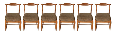Set of (6) Guillerme et Chambron Oak Dining Chairs 34001
