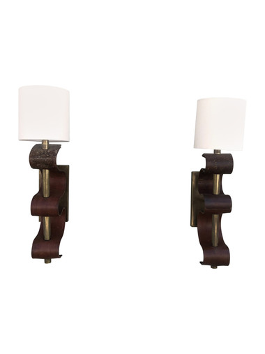 Pair of Limited Edition Bronze and Vintage Leather Sconces 35875
