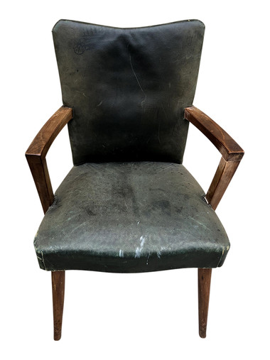 Single 1940's French Leather Desk Chair 35032