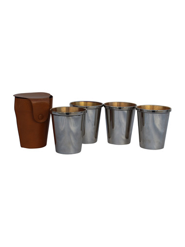 Hunting Cups with Leather Case 37554