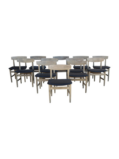 Set of (12) Danish Oak Dining Chairs 35661