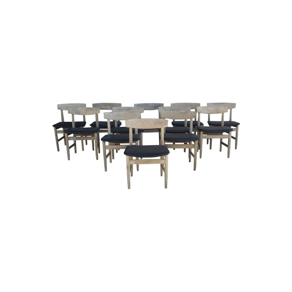 Set of (12) Danish Oak Dining Chairs 36800