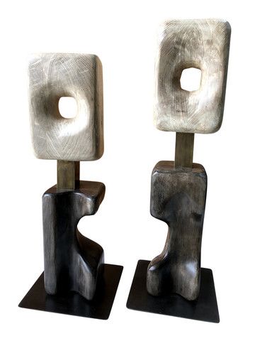Pair of Limited Edition Walnut Modernist Sculptures 35870