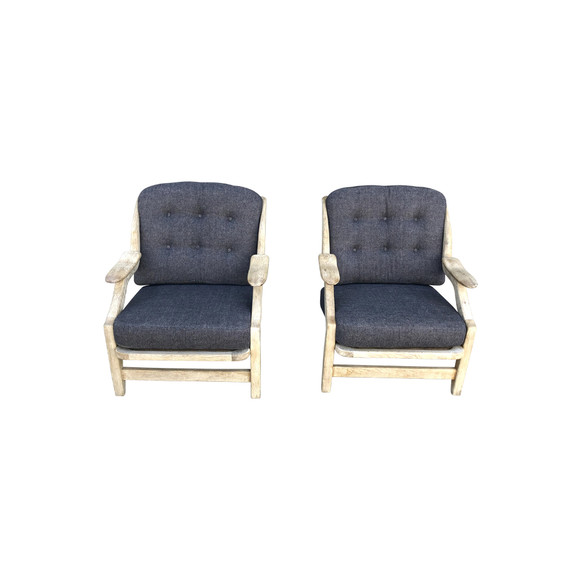Pair of Guillerme & Chambron Oak Arm Chairs 35280