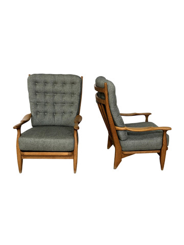 Pair of Guillerme & Chambron Oak Armchairs 37061