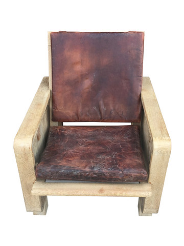 Single Limited Edition Oak and Leather Armchair 32679