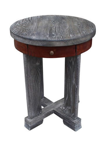Limited Edition Oak and Leather Side Table 23782