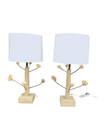 Pair of Limited Edition Wood Element Lamps 34872
