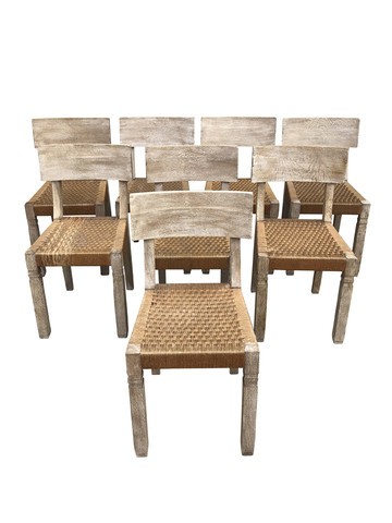 Set of (8) French Oak Dining Chairs 28986