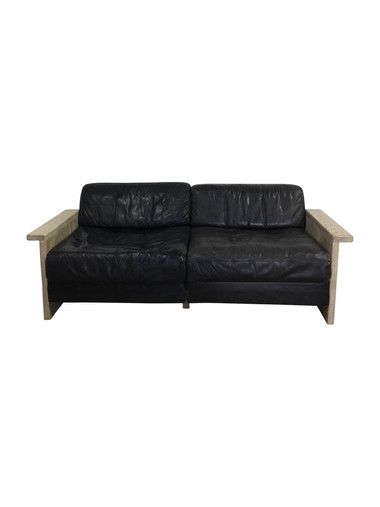 Limited Edition Vintage Black Leather and Oak Frame Sofa 37683