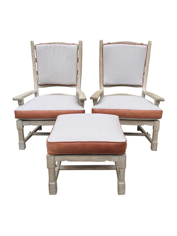 Pair of French Armchairs with Ottoman 31691