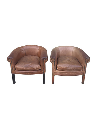 Pair of Vintage Leather Club Chairs 33281