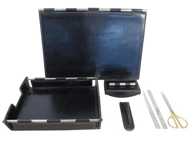French Mid Century Black Leather Desk set 35056