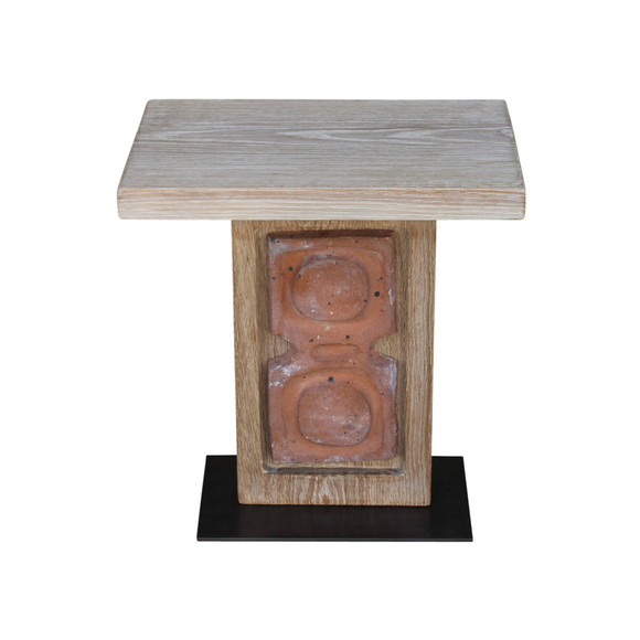 Limited Edition Oak and Ceramic Element Side Table 36151