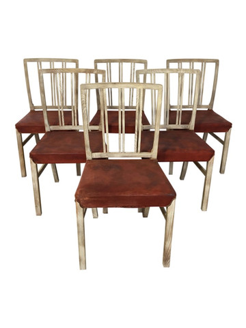 Set of (6) Vintage Danish Dining Chairs with Leather Seats 36504