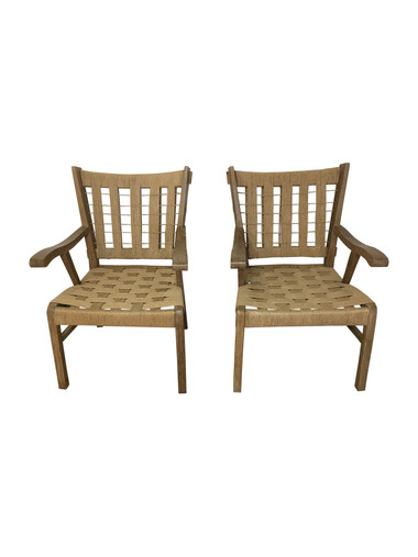 Pair of Limited Edition Walnut and Rope Arm Chairs 37682