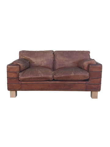 French 1970's Leather Love Seat 36015