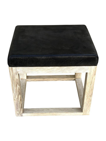Limited Edition Oak and Vintage Leather Stool 35874