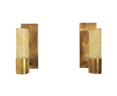 Pair Limited Edition Alabaster Sconces 34467