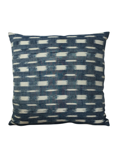 Rare 18th Century French Indigo Flamme Ikat Textile Pillow 38428