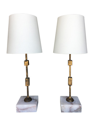 Pair of Modernist Bronze and Stone Lamps 38416