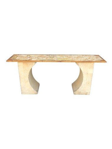 French Cork and Leather Console 33701