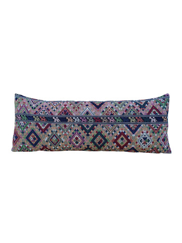 Large Vintage Embroidery Textile Lumbar Pillow 25361