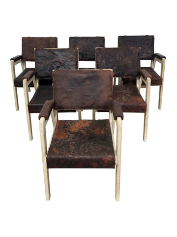 Set of (6) Limited Edition Vintage Leather Dining Chairs 37413