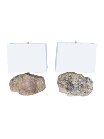 Pair of Limited Edition Organic Stone Lamps 35427