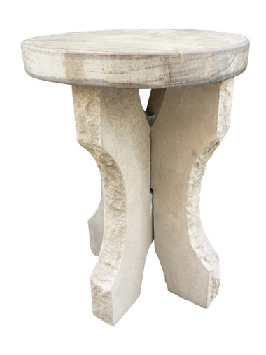 French Stone Base and Oak Top Side Table 33699
