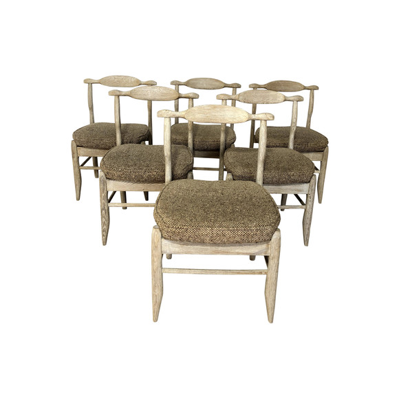 Set of (6) Guillerme & Chambron Oak Dining Chairs 37270