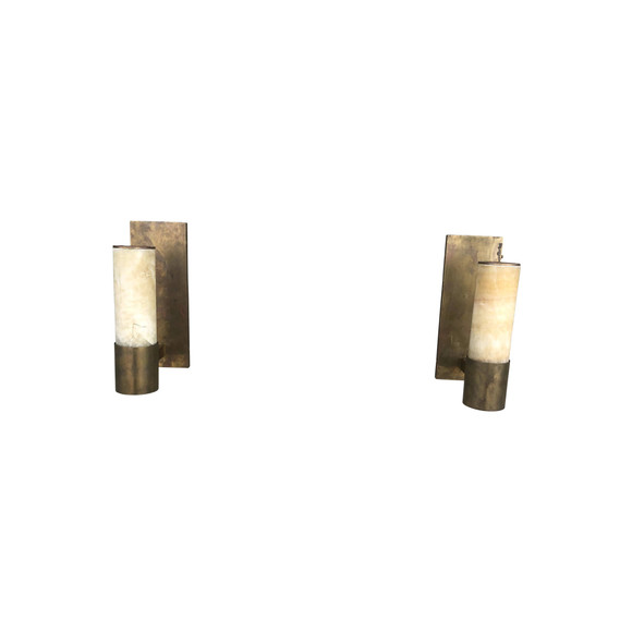 Pair of Limited Edition Bronze and Alabaster Sconces 36861