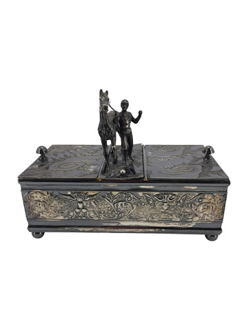 English 19th Century Silver Plate Box with Jockey 35144