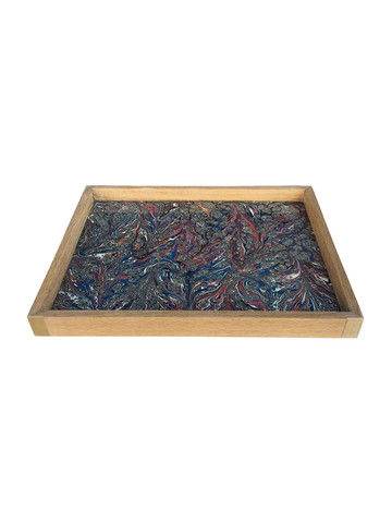 Limited Edition Oak Tray With Vintage Marbleized Paper 34575