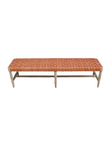 Limited Edition Oak and Leather Bench 30987